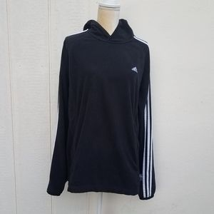 Adidas black and white striped pullover hoodie